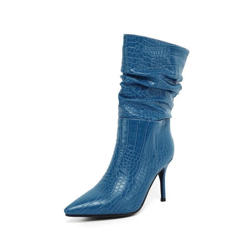 Bottines à la cheville pour femmes Stiletto Stiletto Hauts Hauts pointus Toe Automne Fashion Plissé Femme Taille34-43