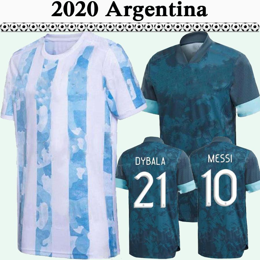 2020 Argentine Équipe Nationale Mensi di Maria Higuain Soccer Jerseys Dyala Home Away Football Shirts Aguero Camisetas de futol