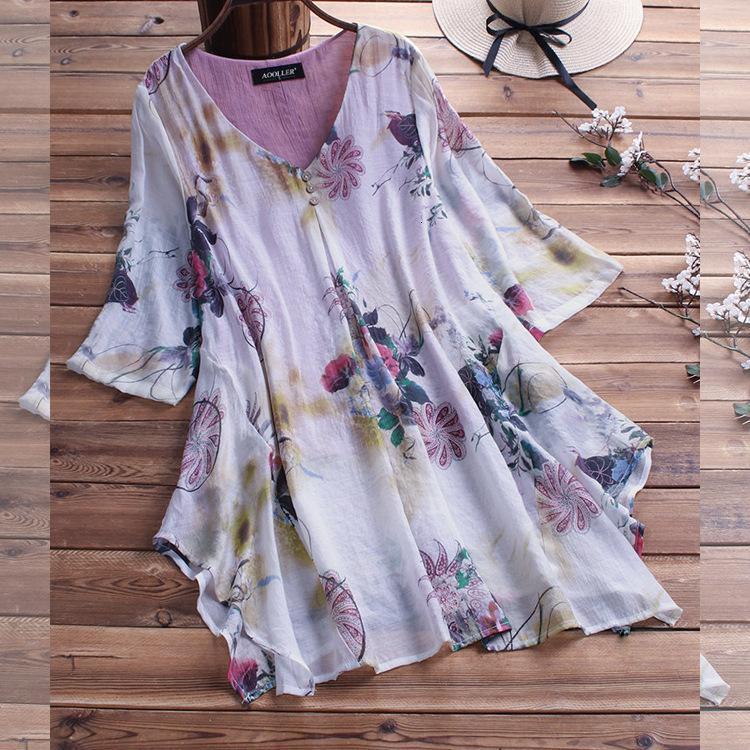 2021 camisa de verano algodón cáñamo gewen suelto femenina moda casual cuello en v