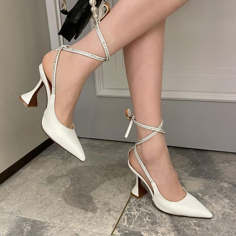 Elbise Ayakkabıları 2021 Yaz Kadın Mor Beyaz Fetiş Yüksek Topuklu Sandalet Tasarımcı Kristal Dantel Up Balo Pompaları Artı Boyutu Gelin