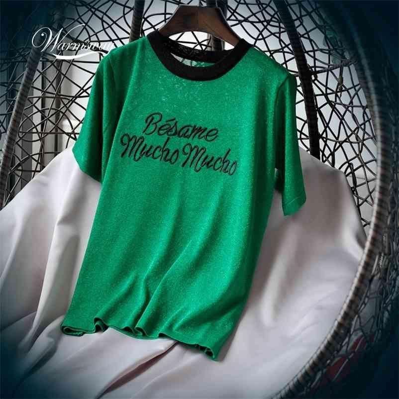 Carta bonito coreana camiseta Femme Hipster Harajuku Lurex Mulheres roupas Kawaii Senhoras Manga Curta T Camiseta Mulheres Tops B-052 210320