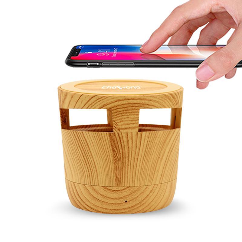 DHL CHOWORLD Mini 2 en 1 Haut-parleur Bluetooth de CASK avec téléphone mobile Chargement sans fil en plein air Décoration de la maison rétro