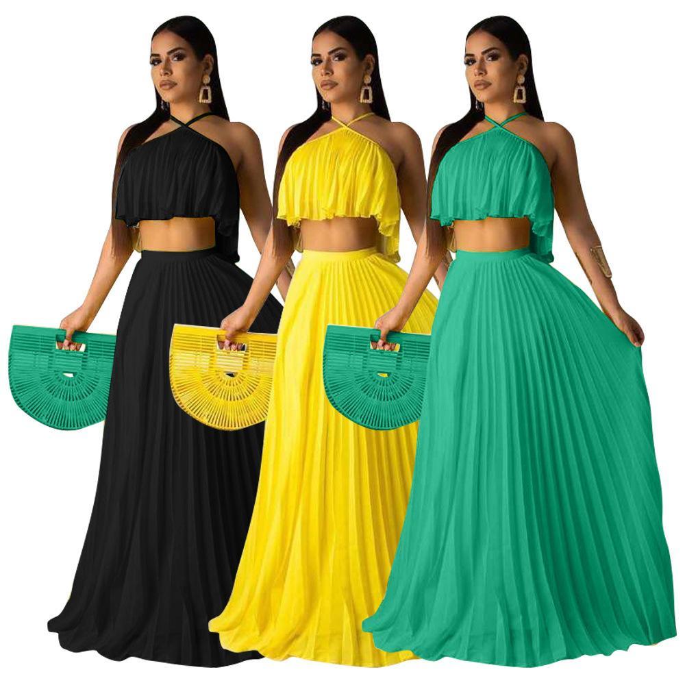 WPMEN Neue Modedesigner Kleidung Crimpen Hochtemperaturformung Two Layer Stoff Mainstream Zweiteiler Set Maxi Kleid