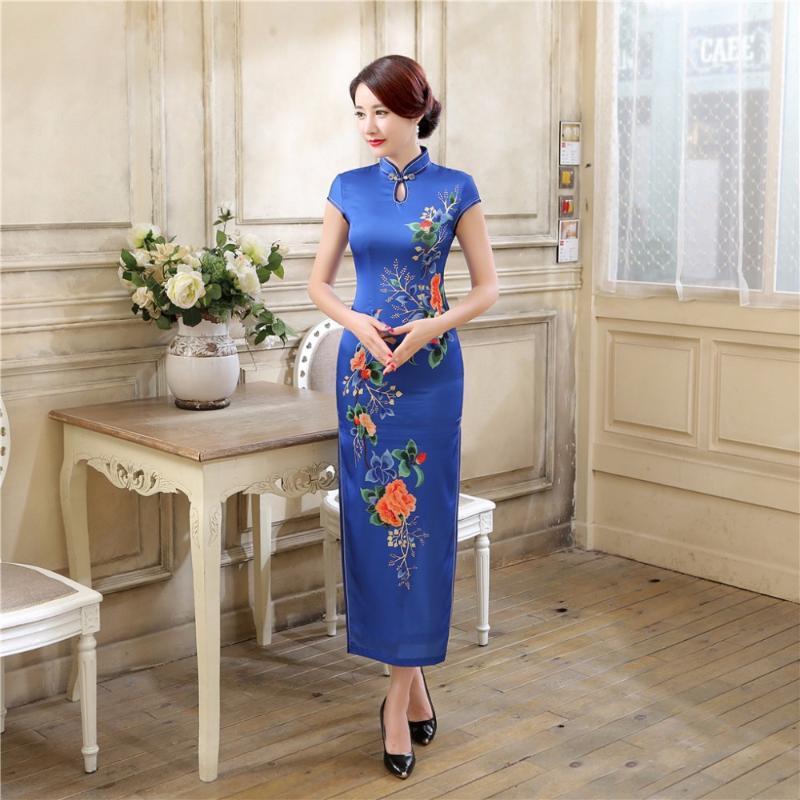 Shanghai Geschichte Chinesische QIPAO Sommerkleider Cheong-Sam Lange Abendkleid Retro Ethnische Kleidung