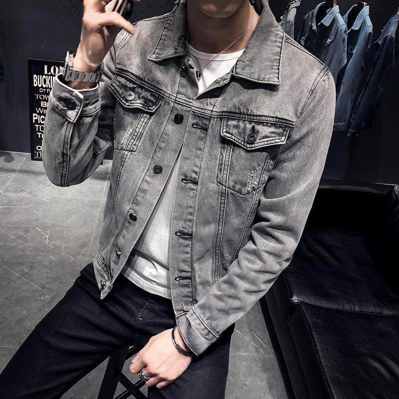 Мужчины 2021 весенняя мужская стройная подходящая джинсовая куртка повседневная корейская верхняя мода