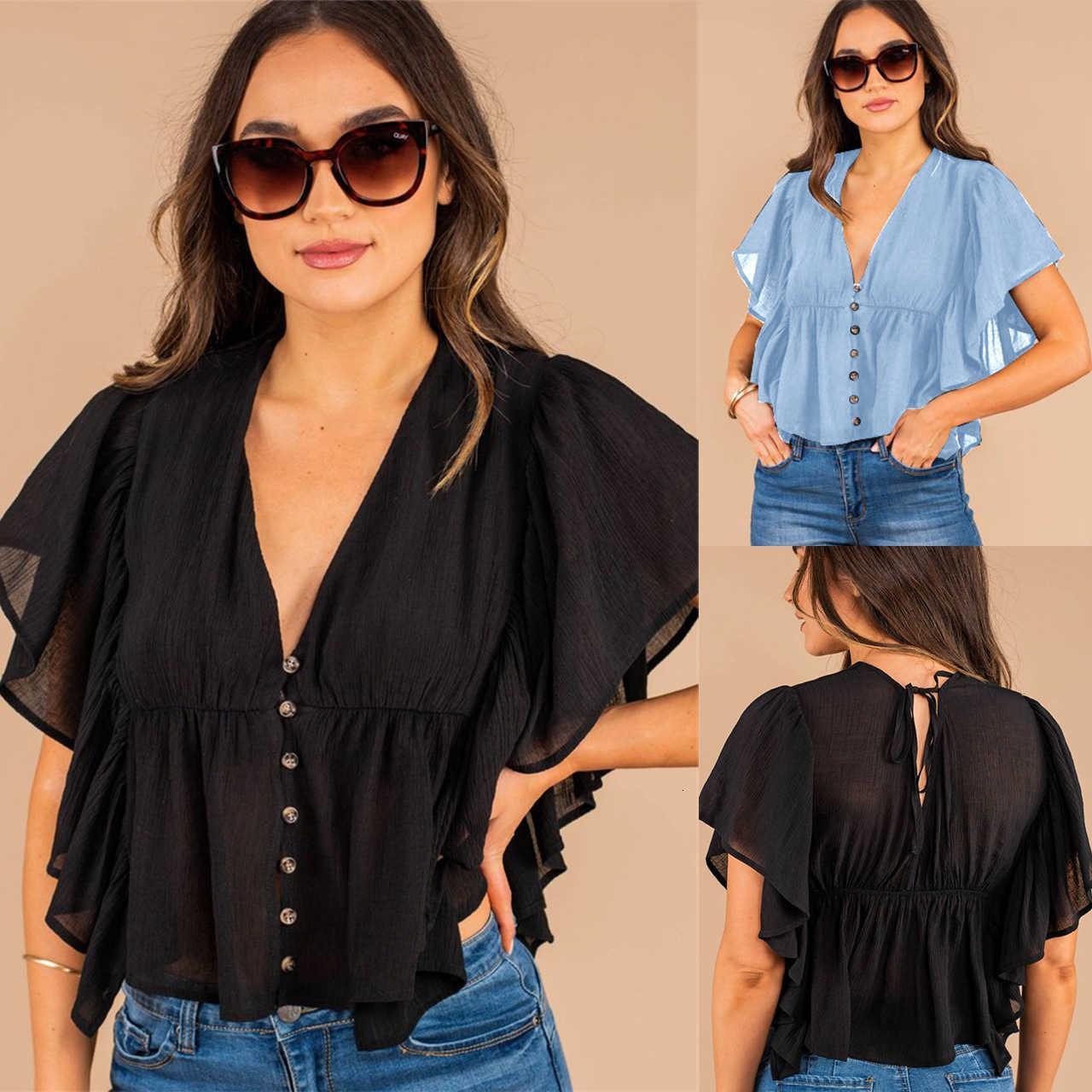 2021 Camisa suelta de moda de verano con cuello en V con rufle de manga corta para mujer