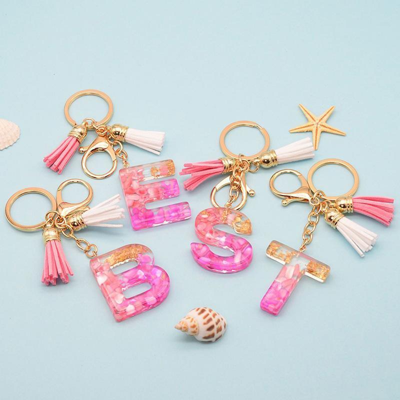 Schlüsselanhänger Rosa A-Z Plüschkugel Epoxy Kristall Brief Keychain Rucksack Dekoration Anhänger für Frauen Hochzeit Geburtstagsfeier Favor Keyring