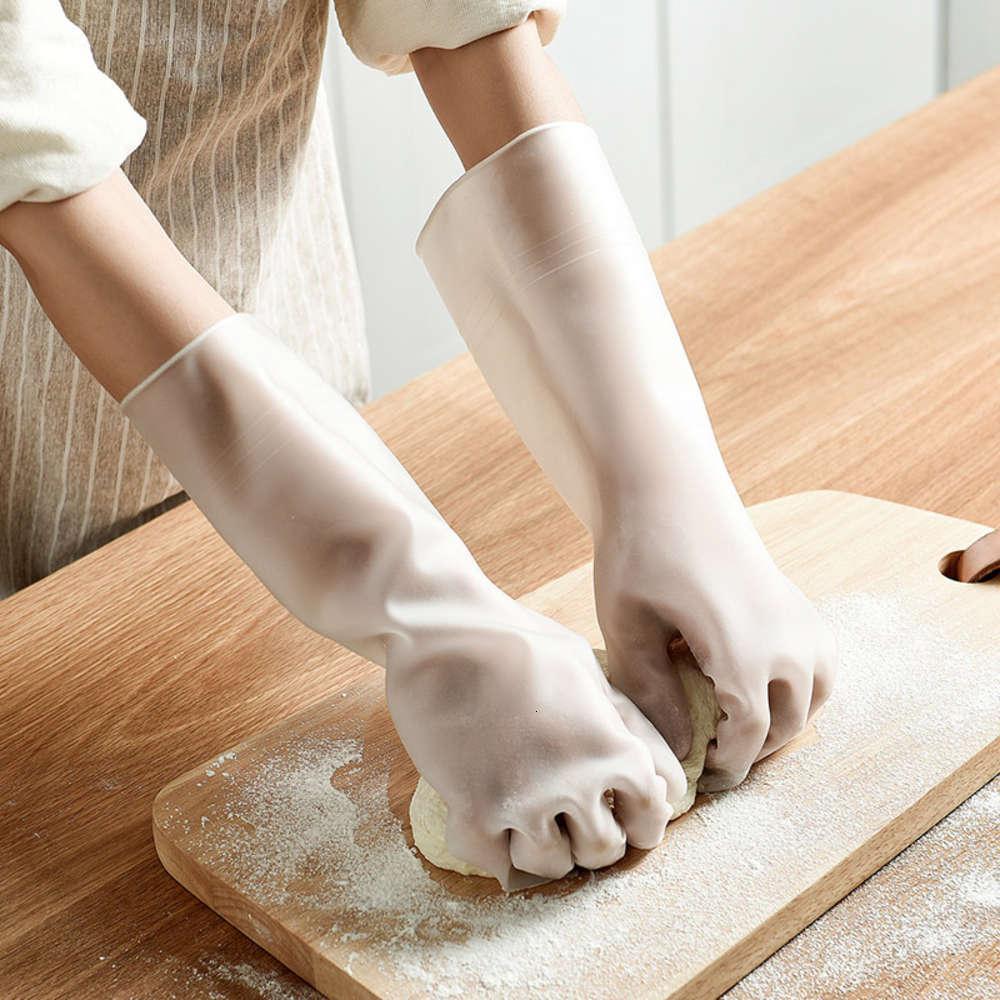 Luvas T à prova d'água da cozinha doméstica limpeza espessada lavanderia transparente e lavagem de borracha de lavar louça
