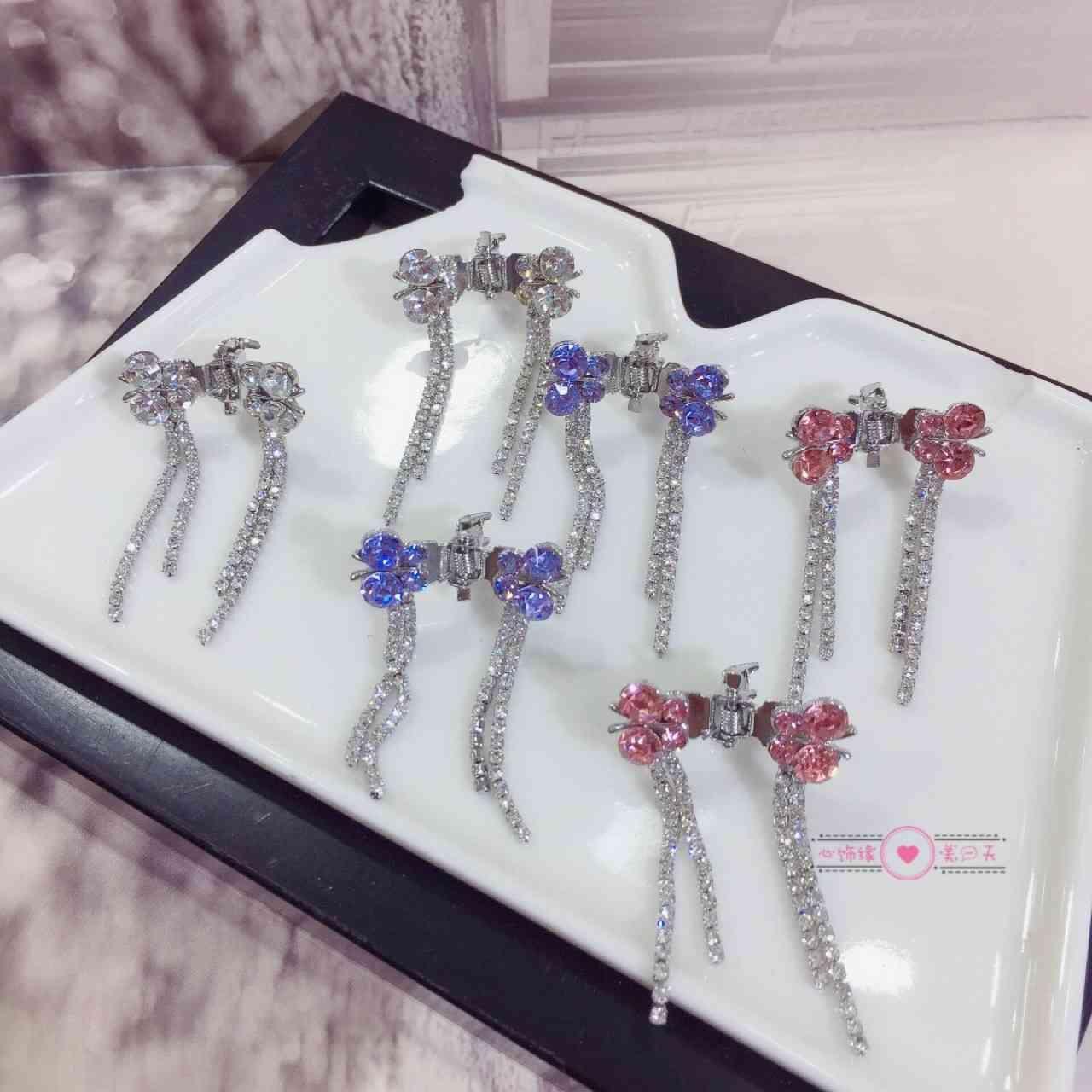 Nova Moda Hairpin Placa Coreana Voando Borboleta Com Diamante Tassel Long Garra Clipe Trançado Cabelo Princesa Princesa