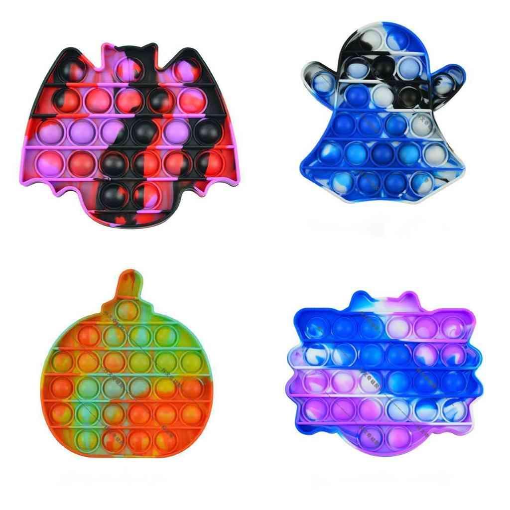 Fidget Juguetes Halloween Ghost Calabaza Tie-Dye Bubble Toy Spider Bat Empuje Bubbles Juegos de juguete Popper Sensory Puzzle Niños Estrés Alivio Silicona Juguetes G76W7YQ