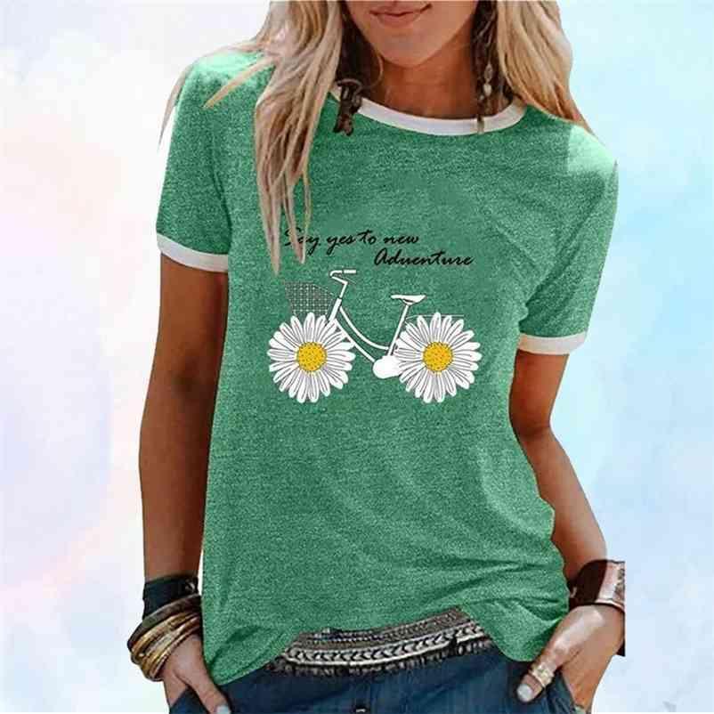 Daisy Flor Bicicleta Impressão Mulheres Verão T Camisa Estética Retalhos Tshirts Causal Harajuku Plus Size Kpop Roupas T-shirt 210320