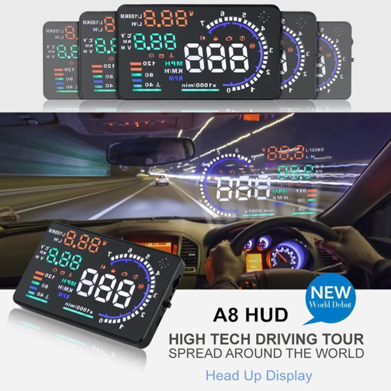 OBD2 5.5 'HUD A8 Auto Auto Up Display LED Proiettore parabrezza OBD Scanner Velocità Carburante Avvertimento Avvertimento Allarme Strumento diagnostico PK D20001