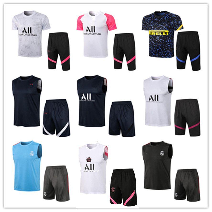 Männer Erwachsene 21 22 Football Training Trainingsanzug Fussballanzug Weste 3/4 Pants Kits 2021 2022 Mens Real Madrid Sleeveless Trainingsanzüge Chandal Jogging Sets