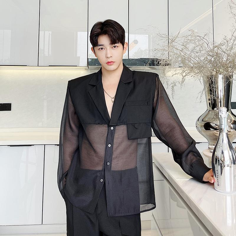 Men's Suits & Blazers Summer Male Suit Transparent Organza Sunscreen Thin Jacket For Men Women Streetwear Harajuku Blazer Coat