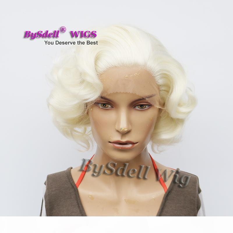 المشاهير مارلين مونرو قصيرة الرومانسية الجسم موجة بيضاء شقراء الشعر الجبهة الرباط الباروكة الاصطناعية الجنية قصيرة الجمال أنيمي تأثيري الرباط الجبهة الباروكات