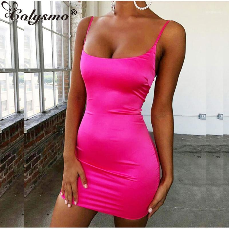 Colysmo Stretch Cetim Mini Vestido Mulheres Sexy Correias Slim Fit Bodycon Party Dress Neon Verde Rosa Dual-Layered Robe Femme11