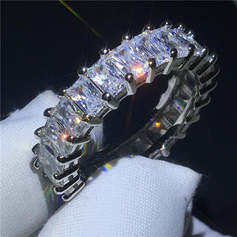 Vecalon 6 Style Eternity Promise Promise Bague Diamant Stone 925 Sterling Silver Engagement Band Bandes De Mariage Pour Femmes Hommes Bijoux 9 T2