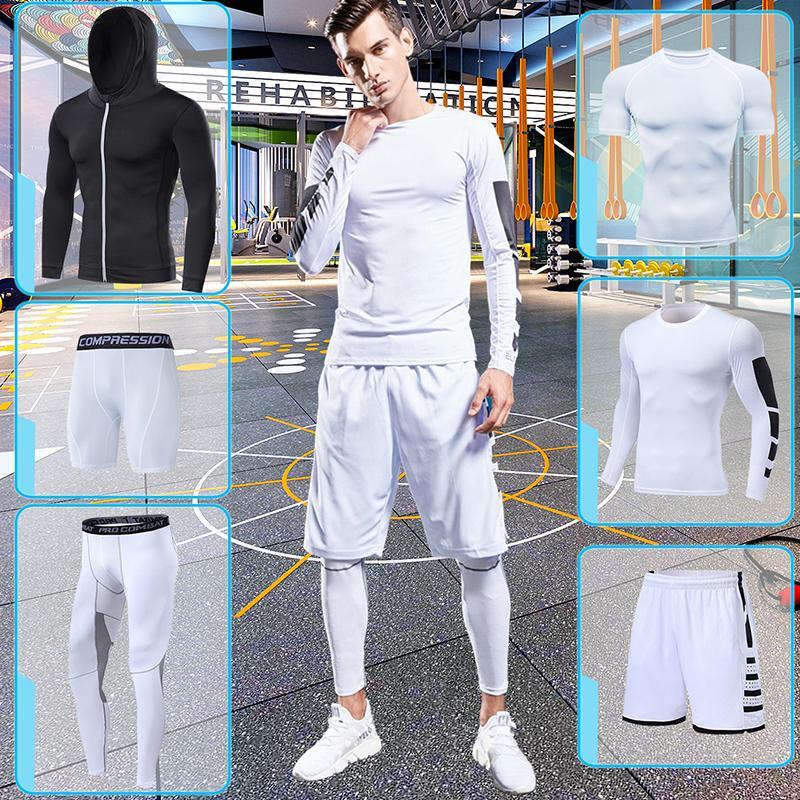 Exercice de gym Vêtements de remise en forme pour Mens Compression Sportswear Costumes Black Running Tracksuit Ensemble Jogging Training Collants Fit sec