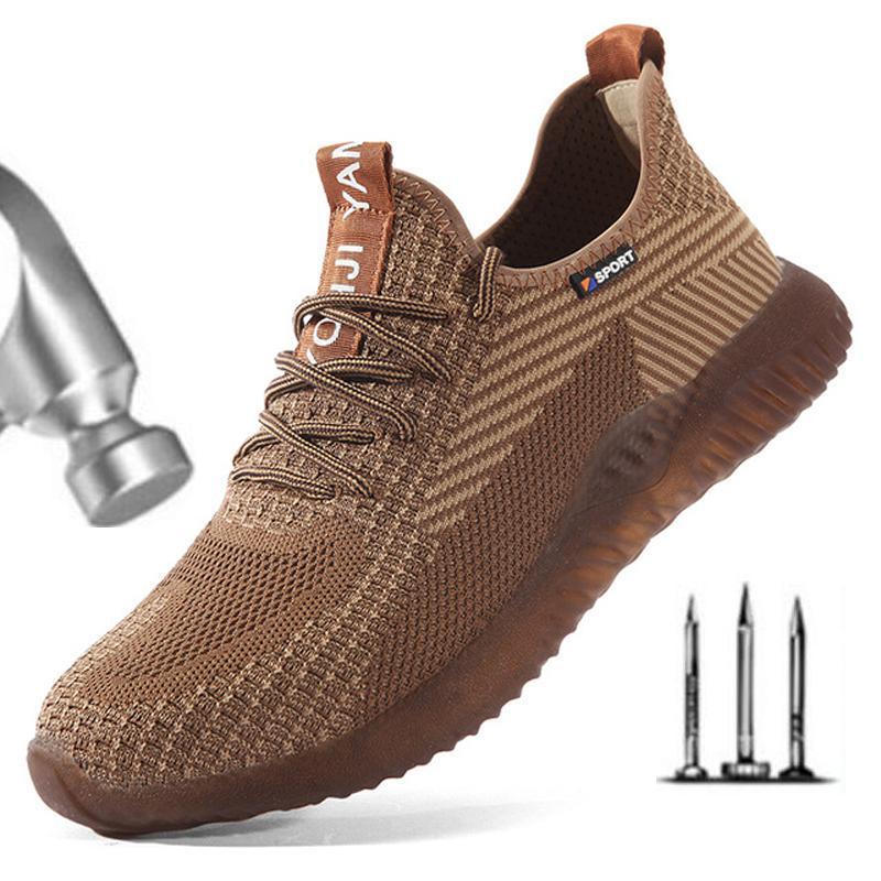 Güvenlik Ayakkabı Çelik Burun Erkekler, Moda Smashing Anti-Smashing Erkek Çalışma Ayakkabıları, Siyah Nefes Rahat Spor Ayakkabı Seguridad H582