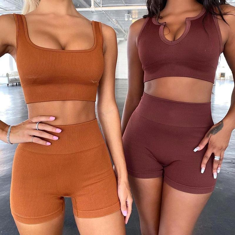 Women's yoga2021 new seamless knitted Sexy Sports short sleeve shorts Yoga suit fitness suit women
