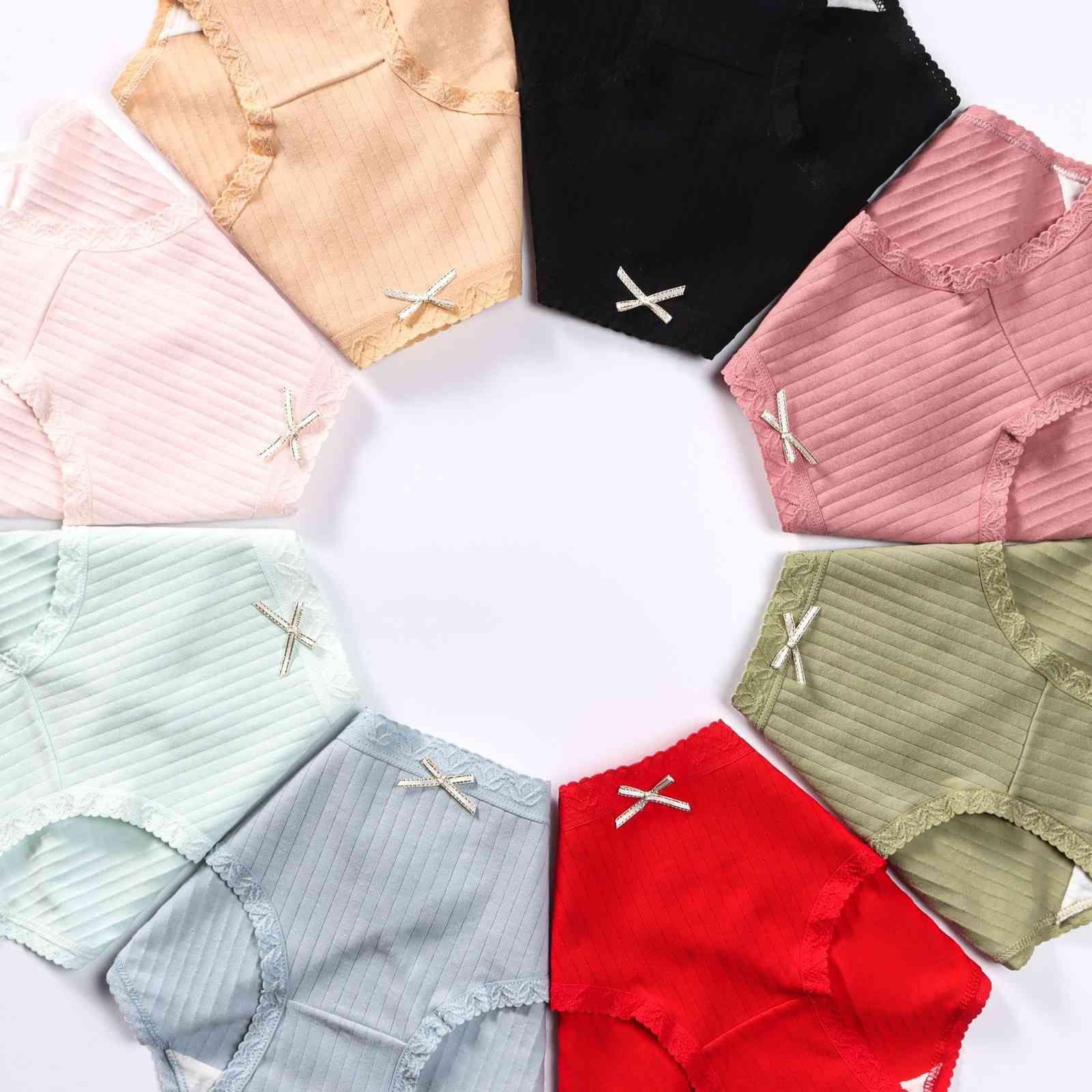 Pantías de algodón puro de las bragas de los pantalones de cintura de la cintura del lado del laje de la raya del arco