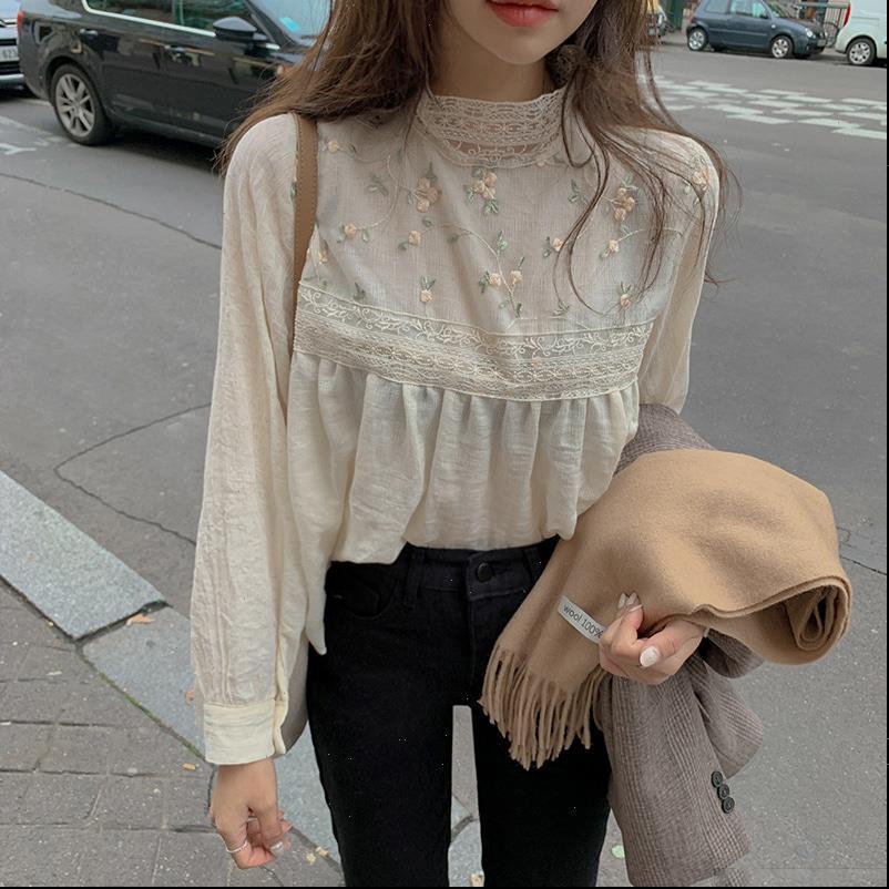 우아한 레이스 스탠드 칼라 여성 셔츠 섹시한 hollow floral 자수 여성 블라우스 긴 소매 탑스