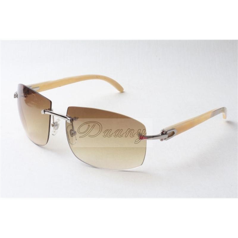 Lunettes de soleil à la mode Hautend Hommes et femmes pilotes une lunettes de soleil de corne blanche naturelle, taille mm