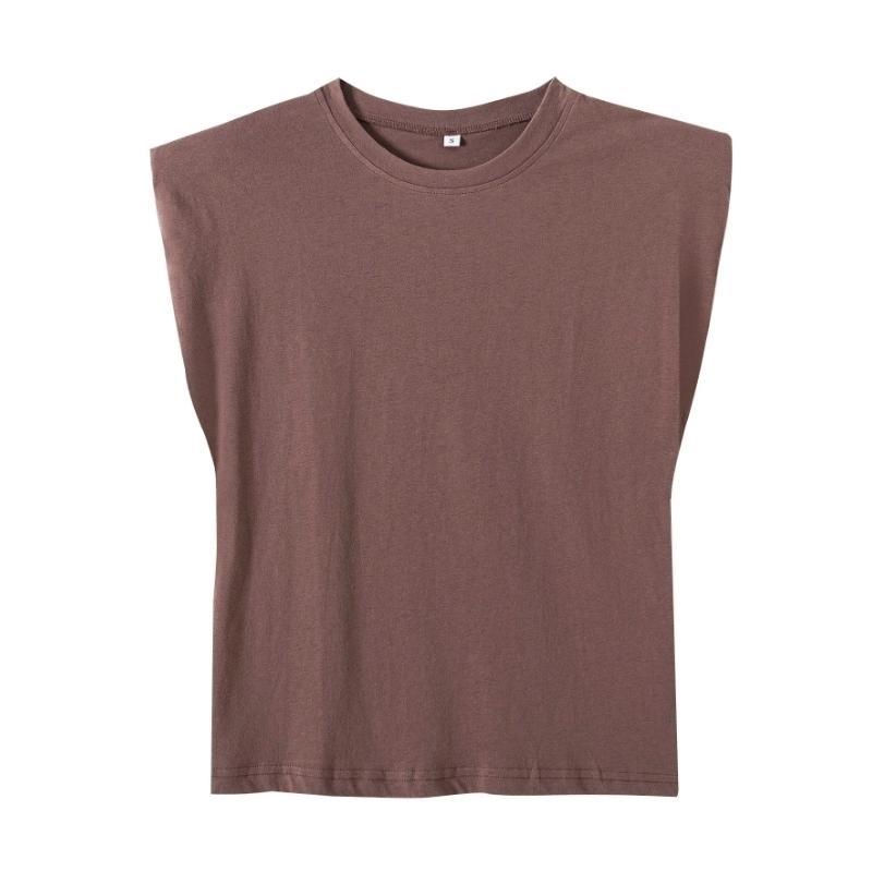 Nova primavera mulheres ombro almofadas perfil colete t camisa feminina sólida solta tops T1370 210322