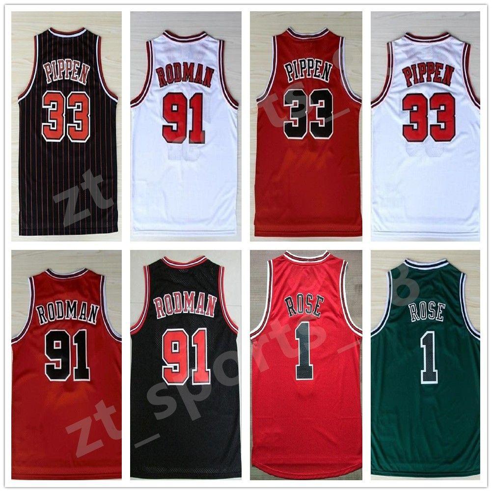 Basketball Vente Hommes # 1 Derrick Rose 33 Scottie Pippen 91 Dennis Rodman Jerseys Blanc Rouge Blanc Black Stripes 100% cousu Retro