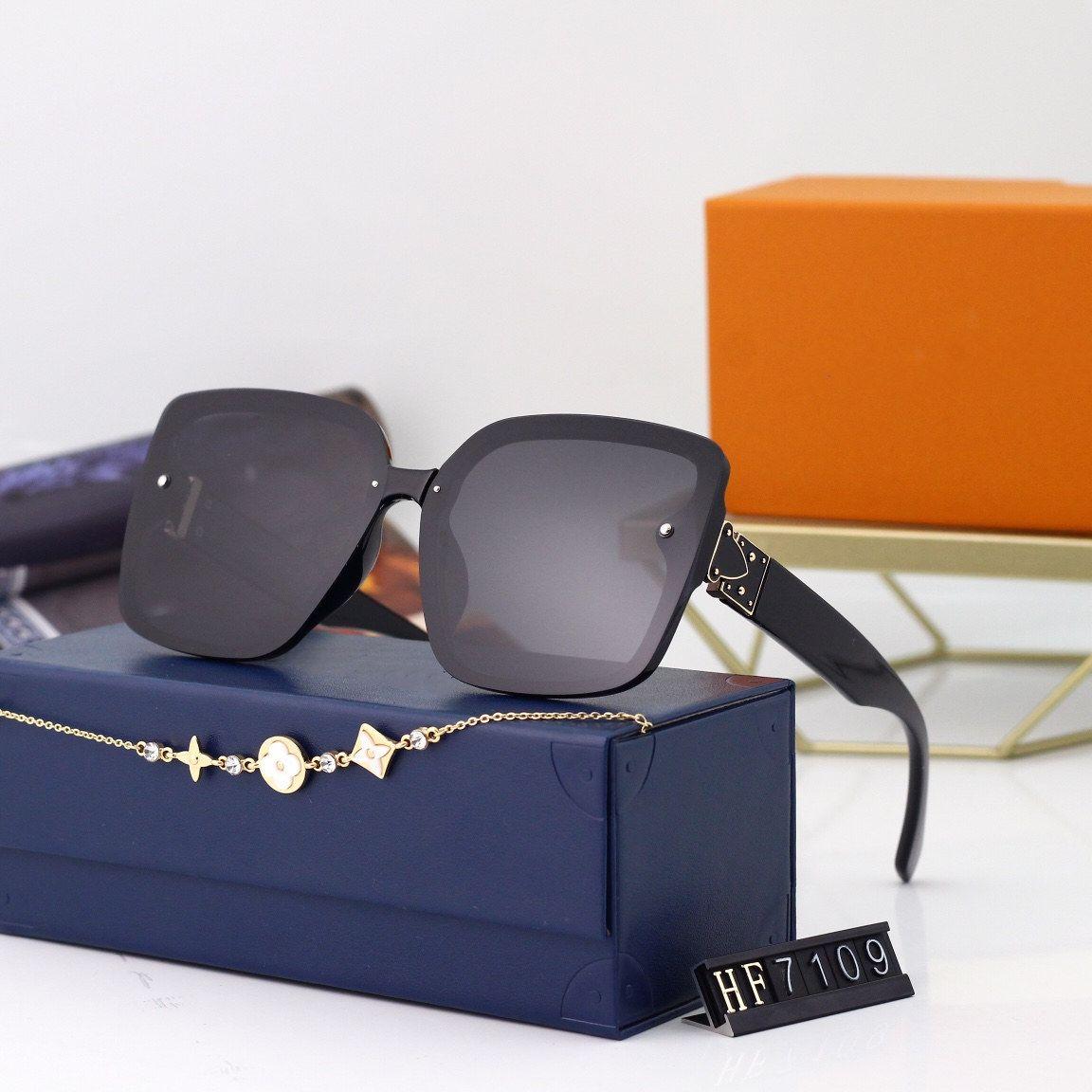 Luxo 7109 Designer Óculos de Sol Unisex para Homens Mulheres Envoltório De Moda Estilo De Verão Quadro de Top Qualidade Proteção UV Lens vêm com caso