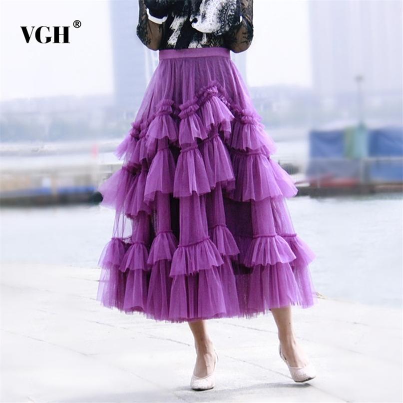 Casual Purple Patchwork Robe à volants Robe à volants pour femmes Haute taille Design Solide Jupes de maille élégante Femelle Vêtements de mode d'été 210531