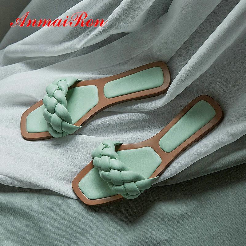 Pantofole Annairon Sweet Pinky Color Microfiber Pelle Sintetica Solid Summer Summer Outside Donne Scarpe da donna superficiale