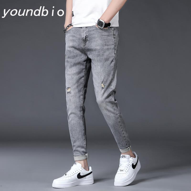 Kot erkekler bahar ve yaz eğlence moda pantolon ince küçük pantolon erkek erkek streç gelgit duman gri 1962 27-38 erkek