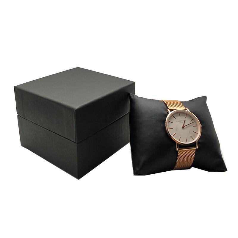 5 stücke Schmuck Verpackungskoffer Schwarzes Papier mit schwarzem Samtkissen Kissen Uhr Aufbewahrungsarmband Organizer Geschenkbox Aufbewahrungsbox 642 Q2