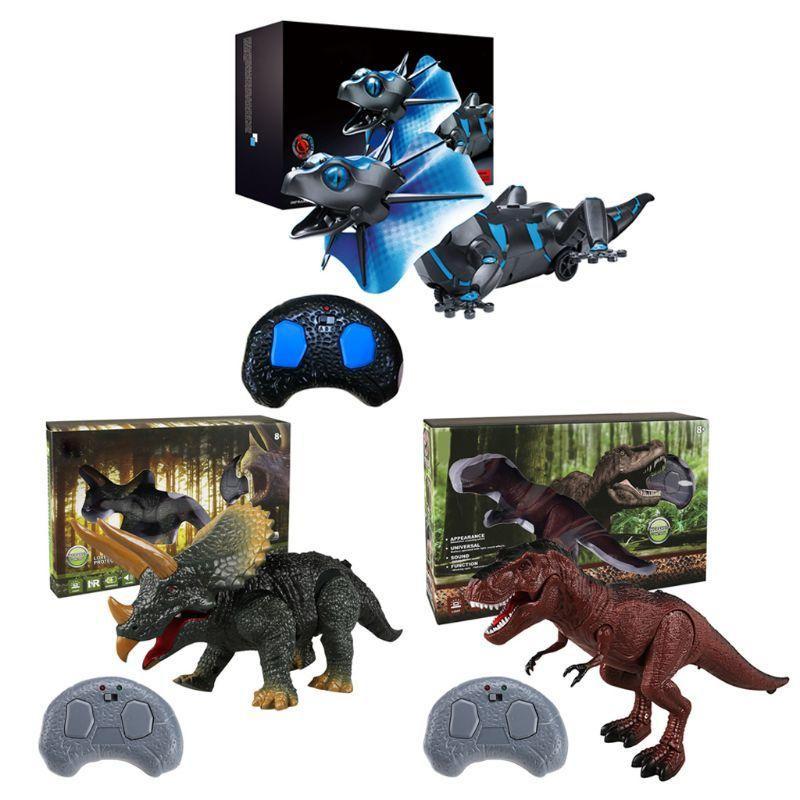 Kids Remoto Controle Dinossauro Brinquedo Eletrônico T-Rex Dino com Passeio Roars Brilho Olhos Para Toddlers Meninos Meninas 210326