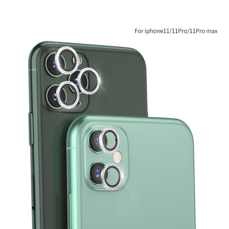 Protetores de tela da câmera do diamante capa para iPhone 11 Pro Max Cobertura Completa Lente Película de Proteção Capas De Fundo