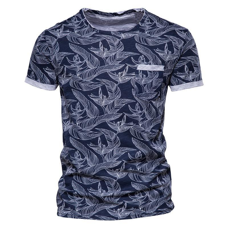 Men's T-Shirts 2021 Summer Printed Tees Short Sleeve Casual Round Neck Cotton T-Shirt Fashion Clothing Tops (European Size)