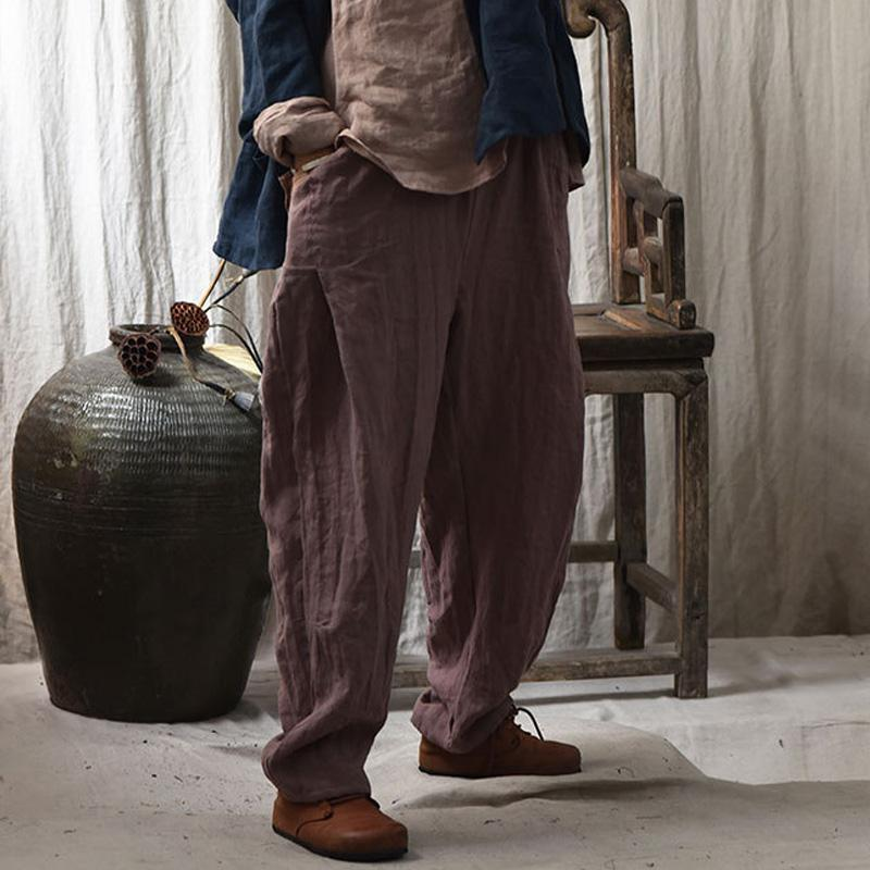 Pantaloni da donna Capris JohnAcy Donne Donne Vintage Wide Gamba Gamba Ricamo Pantaloni Biancheria Biancheria 2021 Autunno Elastico Vita Solido Colore Solido Abiti femminili Casual