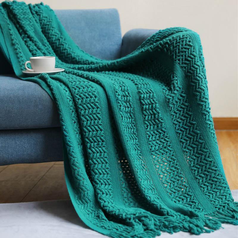 Cobertores cobertores de malha nórdica para cama suave lance no sofá quente escritório cochilo tópico cama capa tapeçaria xadrez