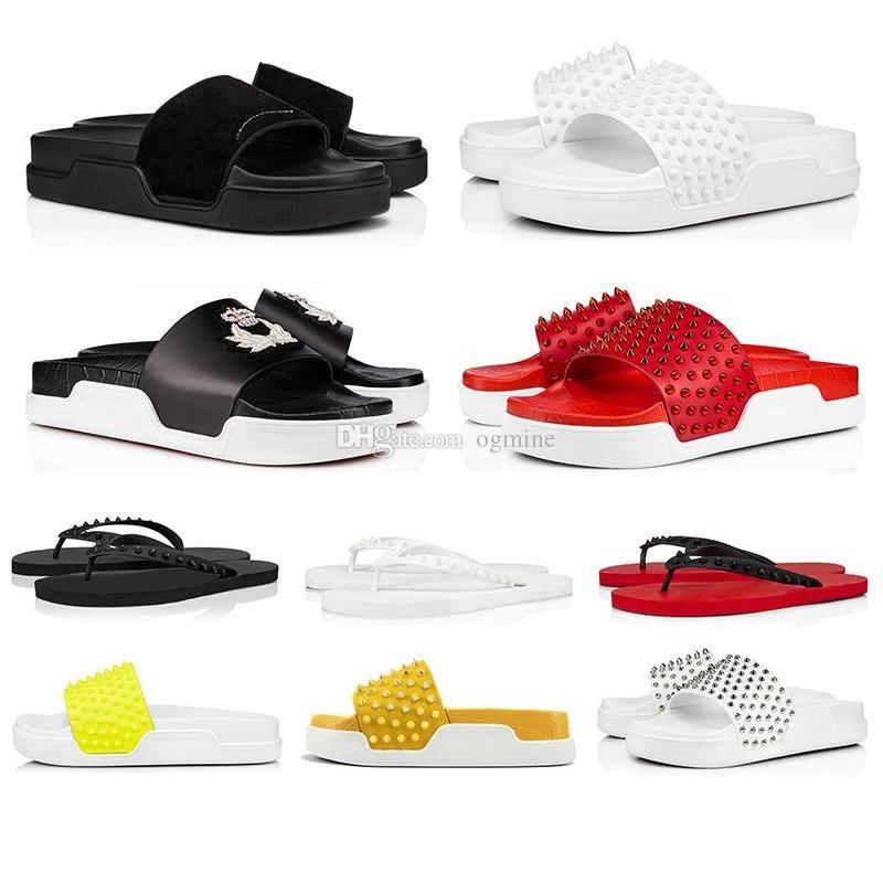 Kutu Kırmızı Dipleri ile Terlik 2021 Yaz Slayt Erkek Bayan Düz Tasarımcı Açık Flip Flop Loafer'lar Lüks Kırmızılar Alt Deri Terlik 39-44