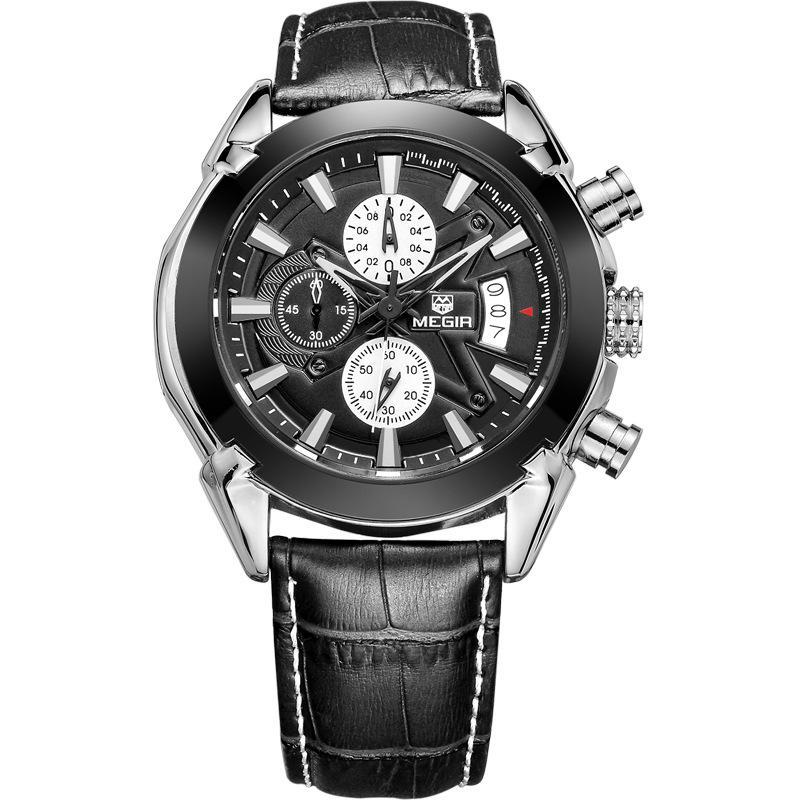 Wristwatches MEGIR Leather Sports Men's Multifunctional Fashion Trend Waterproof Calendar Quartz Watches Relogio Masculino