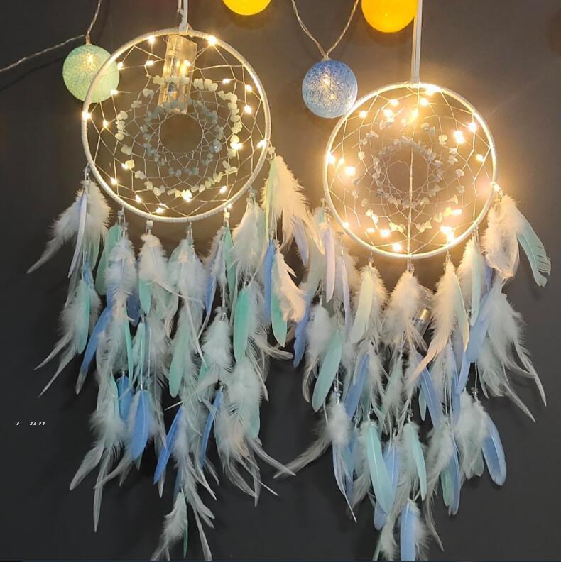Sonho Catcher com luzes Handmade parede suspensão decoração ornamentos artesanato para meninas quarto carro casa casa colorida dreamcatchers presente bwa7571