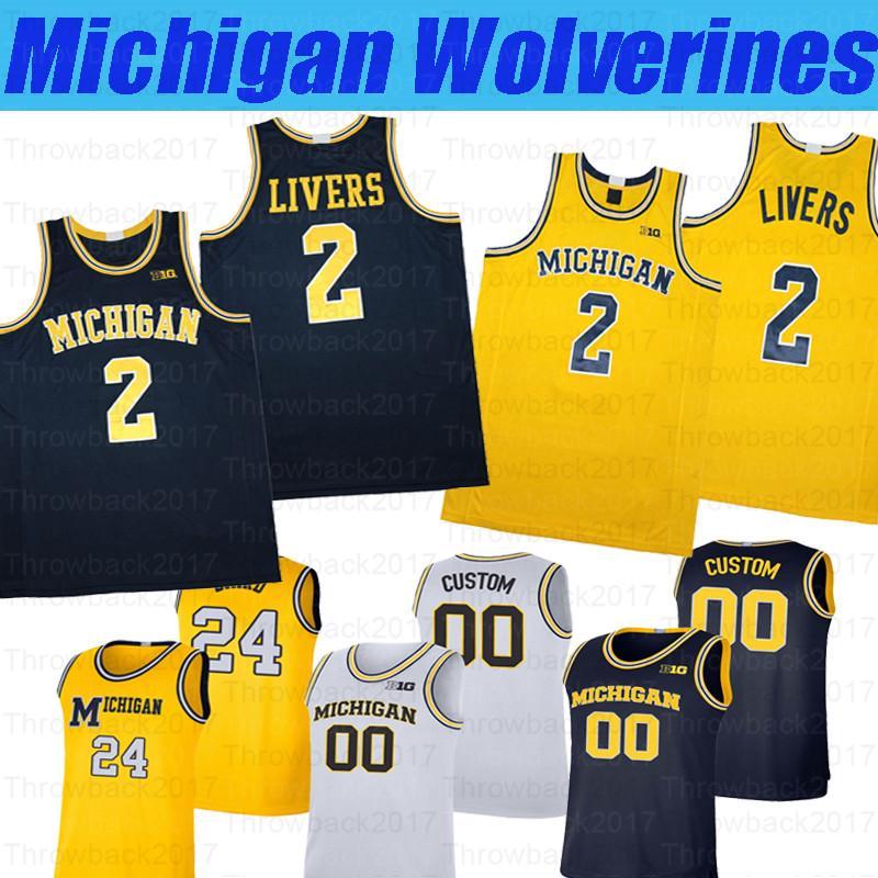 Michigan personalizzato NCAA Michigan Wolverines College Basket # 15 Chaundee Brown Jr. # 3 Zeb Jackson # 44 Jaron Faulds Jerseys