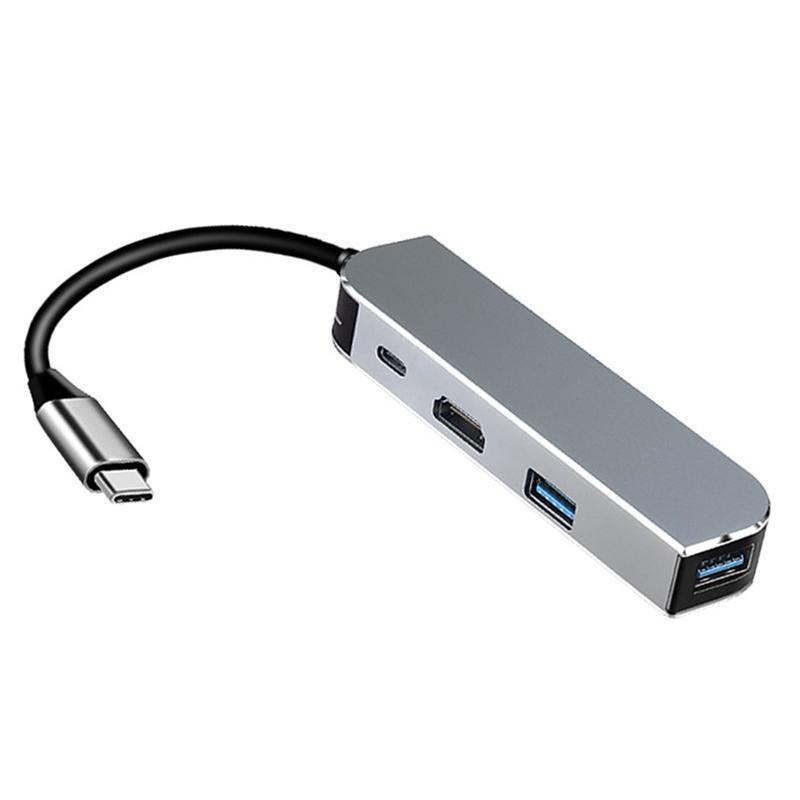 Hubs 4-in-1 Yerleştirme İstasyonu Tip-C Hub USB3.0x2 + PD + Bilgisayar TV Adaptörü için Uyumlu