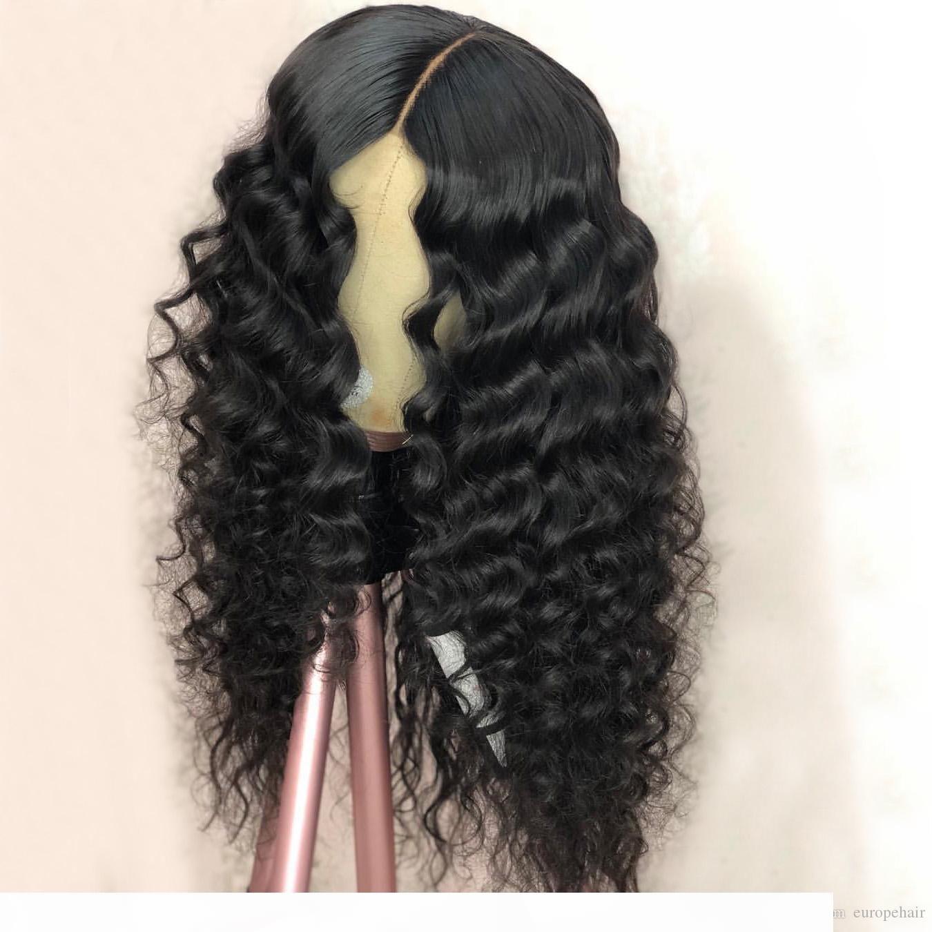 13x6 frente del cordón peluca rizada Pre desplumados pelucas del pelo humano para las mujeres Negro 150% Densidad brasileña del frente del cordón de Remy peluca de pelo rizado Humano