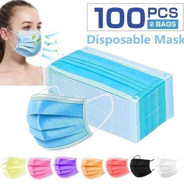 Máscara desechable de 3 pcs 100PCS, máscara de polvo Máscaras de la cara con el uso del bucle elástico para todas las personas