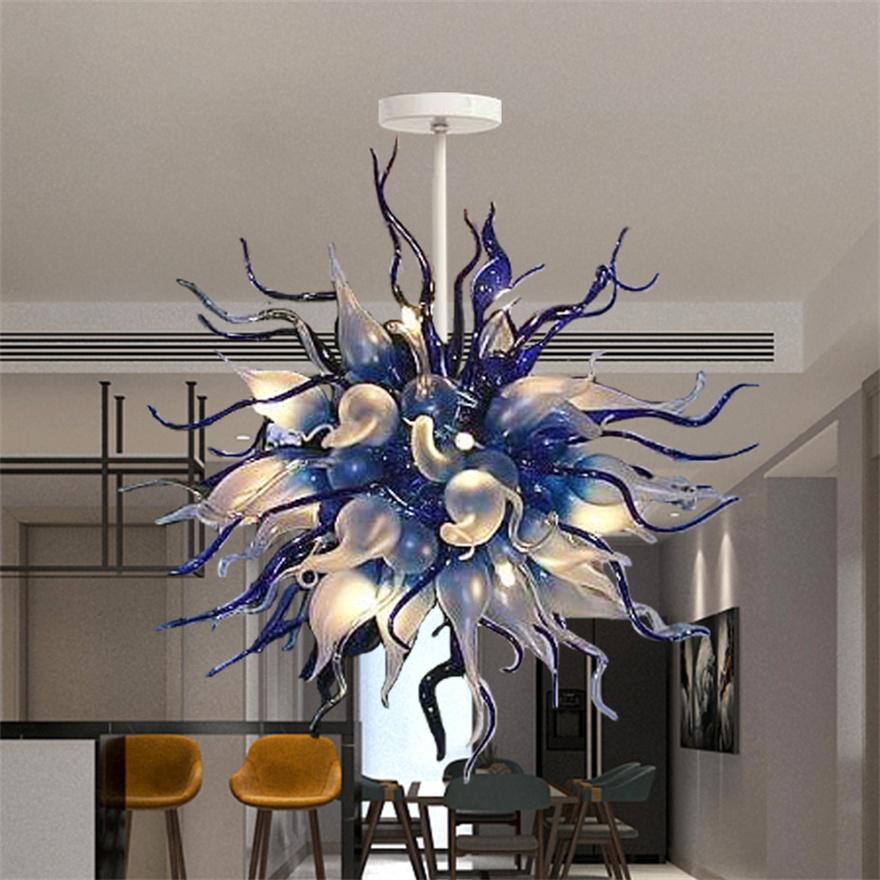 Art Deco Yatak Odası Başucu Lambaları El Üflemeli Murano Cam Zincir Kolye Işıkları Avize LED Lamba Kahve Dükkanı Ev Oturma Odası Dekorasyon D90cm İç Aydınlatma