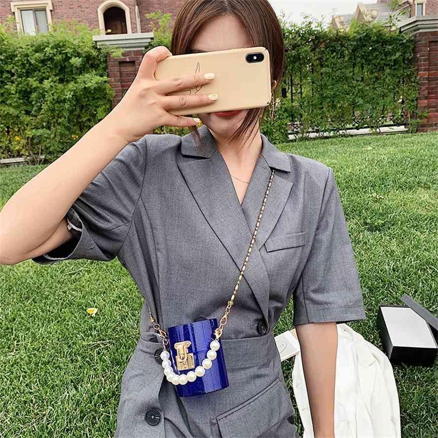 Caixa de jóias de plástico acrílico único saco de jantar de mensageiro de ombro