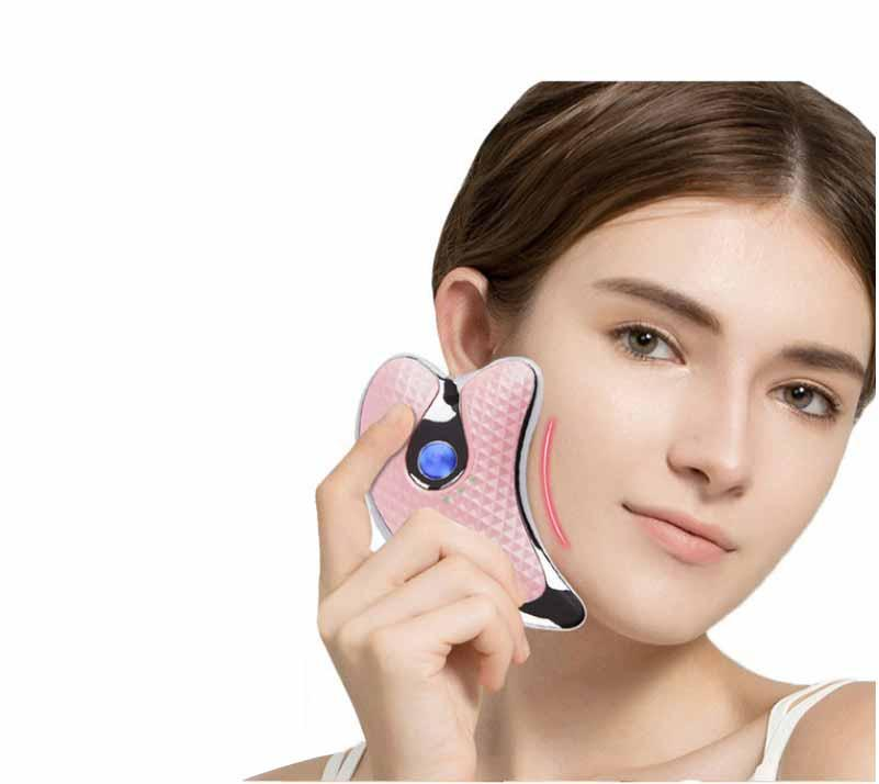 Electric beauty scraping instrument small dolphin vibration constant temperature heating lifting micro current meter