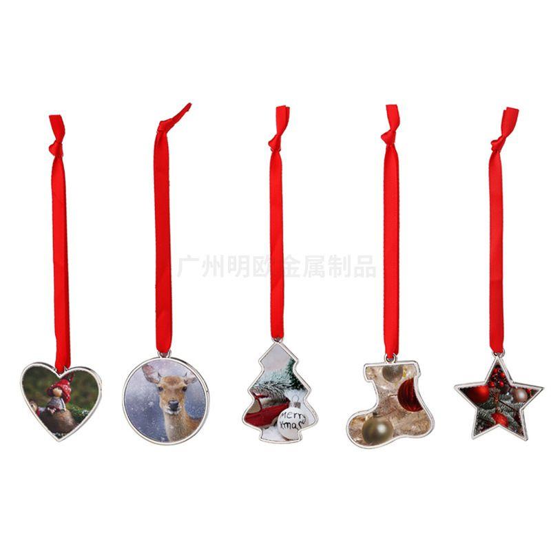 5 kształtów DIY Puste Sublimacja Choinka Wisiorki Xmas Dekoracje Dekoracje Alloy Heart Okrągły kształt buta Gwiazda Hangings FY4754